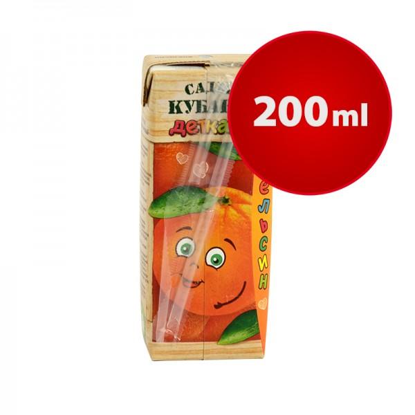 Orange Saftpäckchen Sady Kubani Сады Кубани im Tetra Pak mit Strohhalm, 200 ml