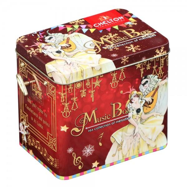 """Musikbox mit Spieluhr """"Carnival"""", loser großblättriger Tee, Blechdose, 100 g"""