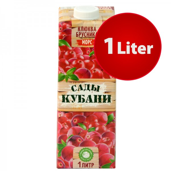 MORS Saft Moosbeere Preiselbeere Sady Kubani Сады Кубани Морс im Tetra Pak, 1 Liter