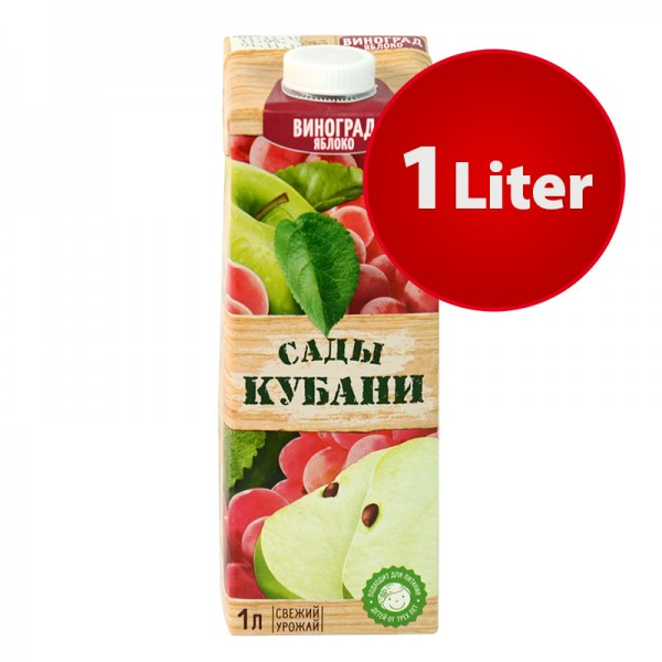 NEKTAR APFEL-WEINTRAUBEN HELL Sady Kubani Сады Кубани im Tetra Pak, 1 Liter