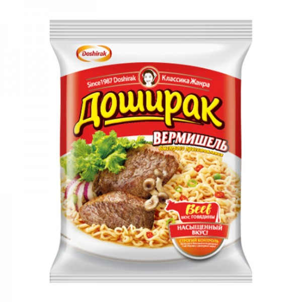 Fertignudeln Doshirak Nudeln Beef Доширак Вермишель, 60 g