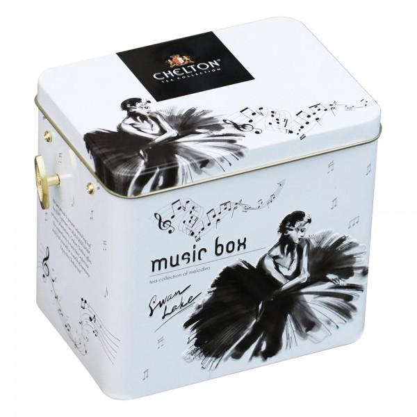 """Musikbox mit Spieluhr """"Swan Lake"""" Schwanensee, loser großblättriger Tee, Blechdose, 100 g"""