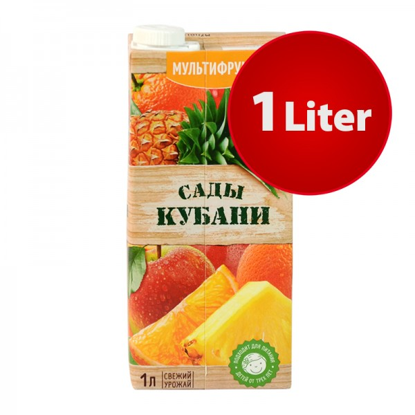 NEKTAR MULTIFRUCHT (Apfel, Orange und Ananas) Sady Kubani Сады Кубани im Tetra Pak, 1 Liter