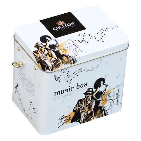 """Musikbox mit Spieluhr """"Tea for two"""" Tee für Zwei, loser großblättriger Tee, Blechdose, 100 g"""