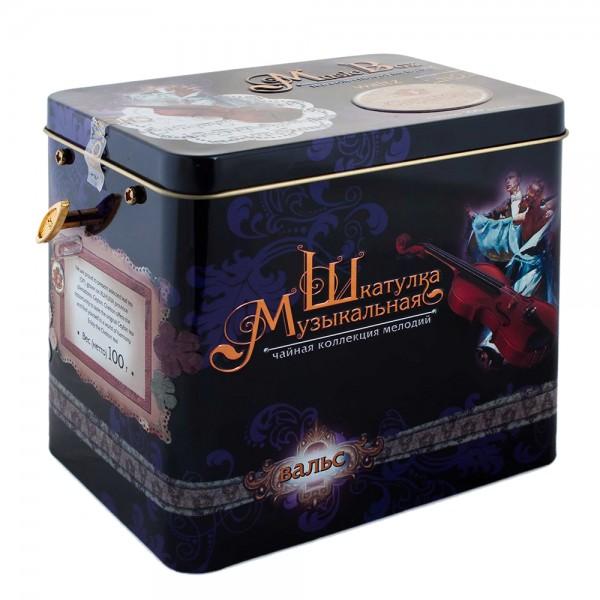 """Musikbox mit Spieluhr """"Walzer"""", loser großblättriger Tee, Blechdose, 100 g"""