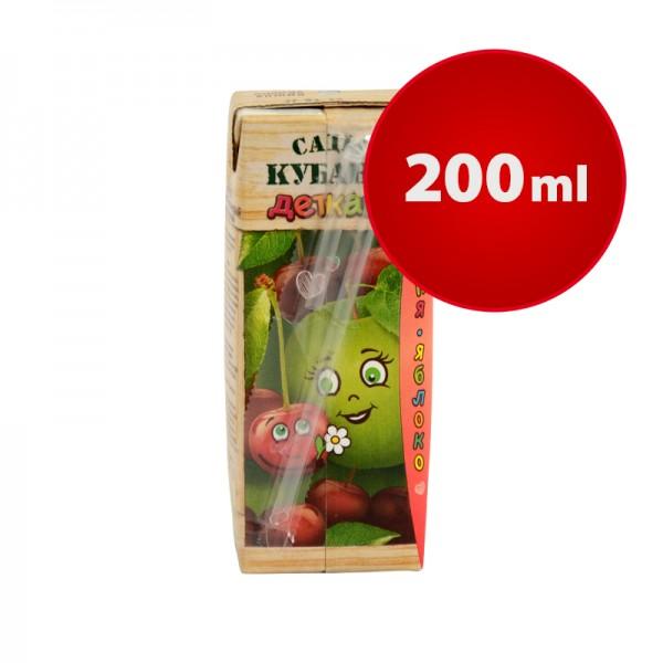 Apfel-Kirsche Saftpäckchen Sady Kubani Сады Кубани im Tetra Pak mit Strohhalm, 200 ml